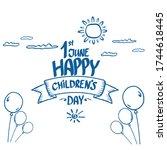 1 june international childrens... | Shutterstock .eps vector #1744618445