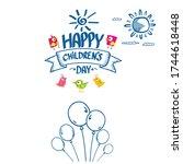 1 june international childrens... | Shutterstock .eps vector #1744618448