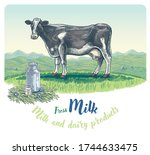 cow  drawing in a graphic style ... | Shutterstock .eps vector #1744633475