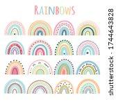 rainbows set baby vector... | Shutterstock .eps vector #1744643828