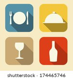 modern flat food icon set for... | Shutterstock .eps vector #174465746