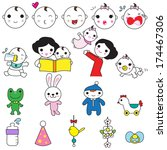 baby and mother characters and... | Shutterstock .eps vector #174467306