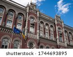 Facade of the National Bank of Ukraine in 2020 with European Union and ukrainian flags in the front