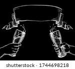 clinking cheers beer glasses in ... | Shutterstock . vector #1744698218