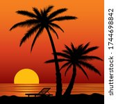 dark palm trees silhouettes on... | Shutterstock .eps vector #1744698842