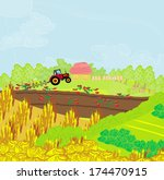 tractor plowing field  | Shutterstock .eps vector #174470915