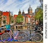 amsterdam  canals and bikes | Shutterstock . vector #174474182