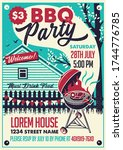 bbq party on the backyard.... | Shutterstock .eps vector #1744776785