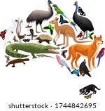 Vector Australia Fauna Map ...