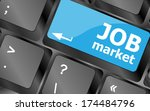 job market key on the computer... | Shutterstock . vector #174484796