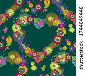 heart of flowers hand drown... | Shutterstock .eps vector #1744849448