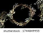 beautiful watercolor leaves... | Shutterstock .eps vector #1744849955