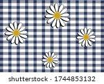 gingham yellow navy vichy... | Shutterstock .eps vector #1744853132