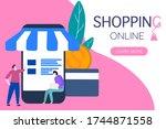 man two shopping online on... | Shutterstock .eps vector #1744871558