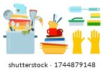 dirty dishes  plates with...   Shutterstock .eps vector #1744879148