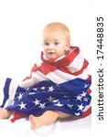 Baby and American Flag Portrait - stock photo