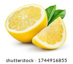 Small photo of Lemon fruit with leaf isolate. Lemon half, slice, leaves on white. Lemon slices with zest isolated. With clipping path. Full depth of field.