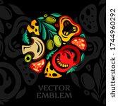 pizza restaurant emblem. vector ... | Shutterstock .eps vector #1744960292