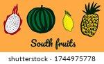 lemon  watermelon  dragon fruit ... | Shutterstock .eps vector #1744975778