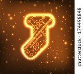 christmas sock in circuit board ... | Shutterstock . vector #174498848