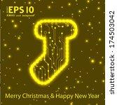 christmas sock in circuit board ... | Shutterstock .eps vector #174503042