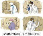 jewish men and woman praying at ... | Shutterstock .eps vector #1745038148