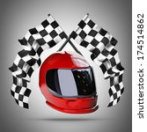 red moto helmet.  two crossed... | Shutterstock . vector #174514862