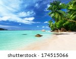 beach on mahe island ... | Shutterstock . vector #174515066