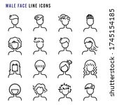 male face line icons  hair... | Shutterstock .eps vector #1745154185