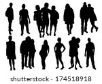 set of people silhouettes | Shutterstock .eps vector #174518918