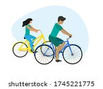 young couple biking together to ... | Shutterstock .eps vector #1745221775
