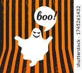 boo ghost halloween message...   Shutterstock .eps vector #1745261432