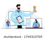 team of doctors gives medicines ... | Shutterstock .eps vector #1745315705