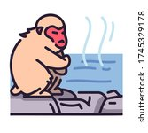 Cute Monkey On Onsen  Steam...