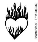 cartoon fire flame heart.... | Shutterstock .eps vector #1745338832