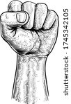 a fist in the air in a vintage...   Shutterstock .eps vector #1745342105