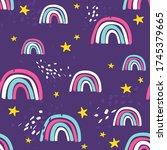 rainbow  hand drawn backdrop....   Shutterstock .eps vector #1745379665