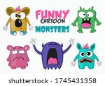 funny cartoon colorful monsters.... | Shutterstock .eps vector #1745431358