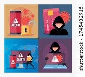 set scenes  hacker with devices ... | Shutterstock .eps vector #1745432915