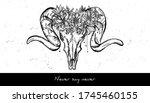 animal skull and wreath of...   Shutterstock .eps vector #1745460155