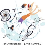 cyclist man falling down from... | Shutterstock .eps vector #1745469962