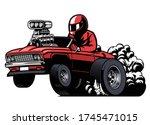cartoon driving american muscle ... | Shutterstock .eps vector #1745471015