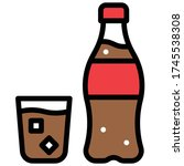 glass of cola with cola bottle...   Shutterstock .eps vector #1745538308