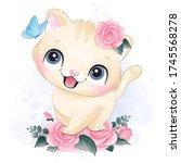 cute little kitty portrait...   Shutterstock .eps vector #1745568278