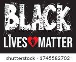 stop racism us. black lives... | Shutterstock .eps vector #1745582702
