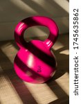 Closeup Pink Kettlebell With...