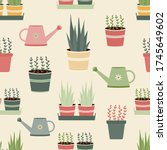 potted plants and watering cans ...   Shutterstock .eps vector #1745649602