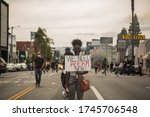 Small photo of Los Angeles, CA / USA - Saturday, May, 30th: BLM ( Black Lives Matter ) Protests against injustice and Police brutality against POC, Fairfax Ave.