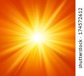 sun orange yellow and rays... | Shutterstock . vector #174572612
