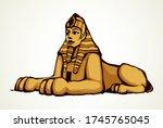 gold mystic carve idol lion man ... | Shutterstock .eps vector #1745765045